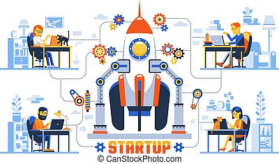 Working remotely creative concept with startup rocket