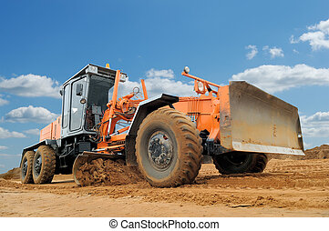 road grader bulldozer - working road grader bulldozer over ...