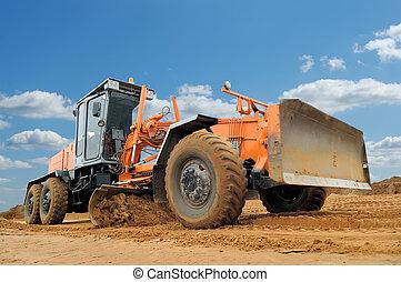 road grader bulldozer - working road grader bulldozer over ...