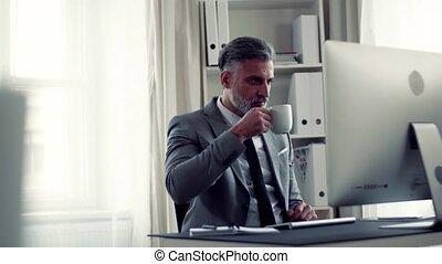 working., séance, bureau, informatique, homme affaires, table