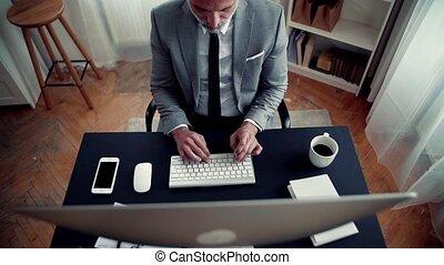 working., séance, sommet, bureau, informatique, homme affaires, vue