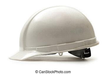 Working safety helmet on white