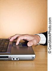 Working senior businessman