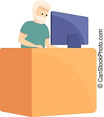 Working senior man icon. Cartoon of working senior man vector icon for web design isolated on white background