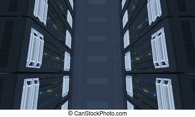 Working Servers Top View in Modern Data Center. Cloud...