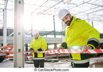 working., site, dehors, hommes, debout, ouvriers, construction