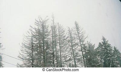 Working ski elevator in Polish Tatras with splendid winter...