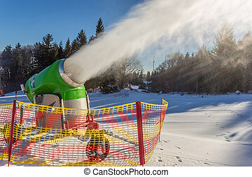 working snow gun