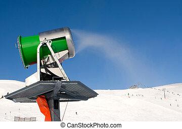 Working snowgun in Alps