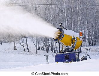 Working snowgun - Skiing center under Magnitogorsk, Russia....