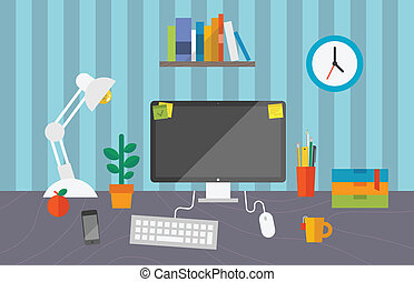 Working space in the office - Vector illustration of routine...