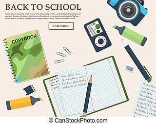 Working student desk with copybook and stationery. With place for your text. Vector