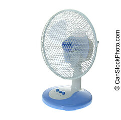 Working Table Electric Blue Fan. Isolated