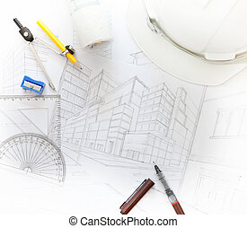 working table of architect with related equipment for...