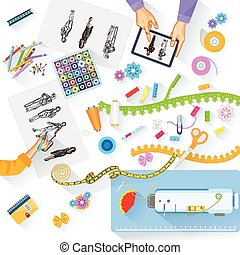 easy to edit vector illustration of working table of fashion designer