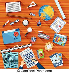 easy to edit vector illustration of working table of teacher