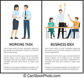 Working Task and Business Idea Vector Illustration