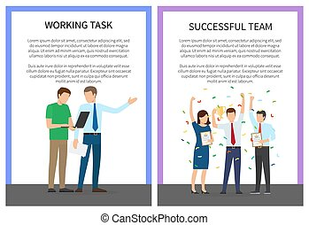 Working Task and Successful Team Colorful Poster