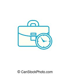 Working time linear icon concept. Working time line vector...