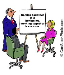 Working Together - Business cartoon of businesspeople and a...