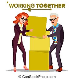 Working Together Concept Vector. Businessman And Business...