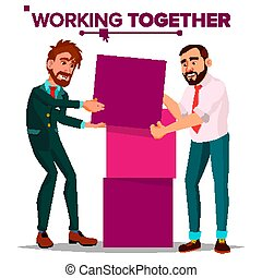 Working Together Concept Vector. Businessman. Busy Day. Co-workers. Business People. Isolated Cartoon Illustration
