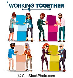 Working Together Concept Vector. Communication, Cooperation. Businessman And Business Woman. Teamwork. Successful Collective. Busy Day. Co-workers. Business People. Isolated Cartoon Illustration
