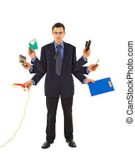 Working too much - Businessman or office employee doing too...