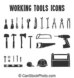 Working tool box icons set - A collection of decorative ...