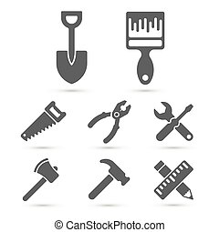 Working tool Icons on white. Vector elements