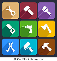 Working tools flat icon set for Web and Mobile Applications