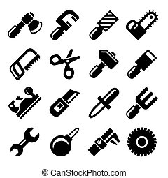 Working Tools Icon Set. Vector