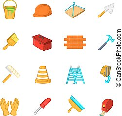 Working tools icons set, cartoon style