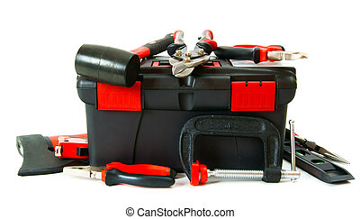Many working tools in the box on white background. - Working...