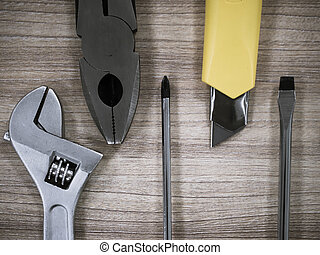 Working tools on wooden table