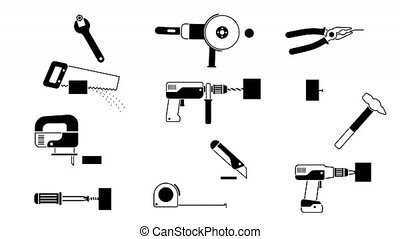 Working tools set - black-and-white icons pictogram. Alpha...