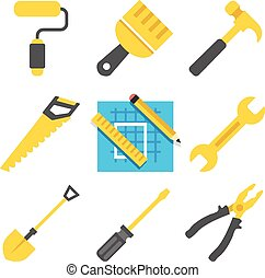 Working tools vector icons set