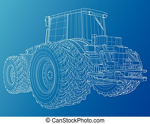 Working Tractor Vector. Created illustration of 3d