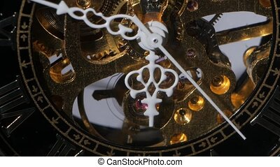 Working watch mechanism. Close up