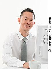 working white collar asian man