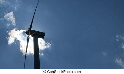 windmill in backlight close