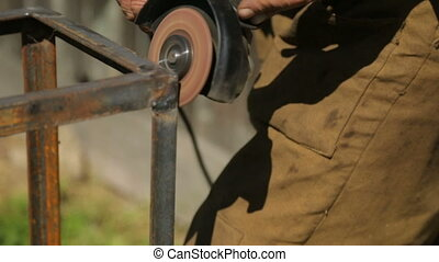 Working with angle grinder