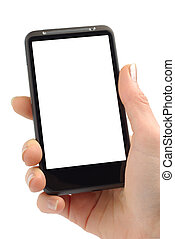 Working With Smartphone - Female hand with modern smartphone...