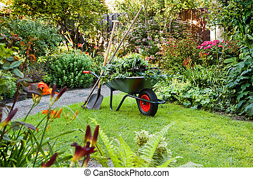 Working with wheelbarrow in the garden - Evening after work ...