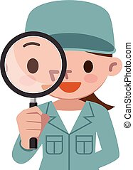 Working woman with loupe - Vector illustration. Original ...