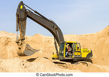 Yellow Excavator at Construction Site - Working Yellow ...