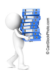 3D little human character carrying a large pile of Ring Binders. Blue. People series.