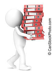 3D little human character carrying a large pile of Ring Binders. Red. People series.