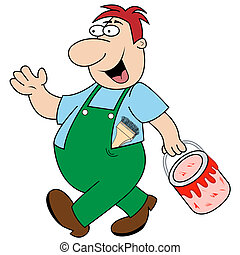 Workman Carrying Paint Pot - Happy painter and decorator...