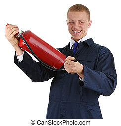 Workman holding an extinguisher
